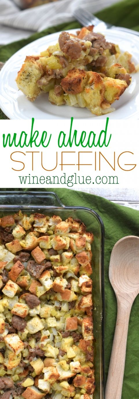 This Make Ahead Stuffing preps the day before saving you time on Thanksgiving!