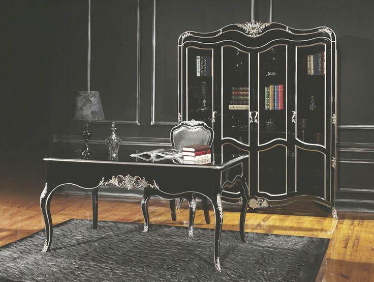 Черный четырехдверный книжный шкаф из дерева в интерьере домашнего кабинета купить в онлайн-каталоге https://lafred.ru/catalog/catalog/detail/3WOQCxhRdwEQ/