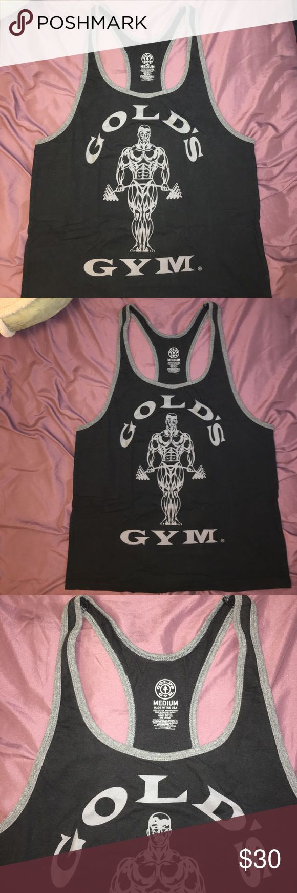 Golds Gym Jet Black Y Stringer Pre owned. Great condition. 9.5 out of 10. COLOR: Jet Black. Dark look. This is true to the size Medium. Thanks for looking, have a good day! Golds Gym Shirts Tank Tops