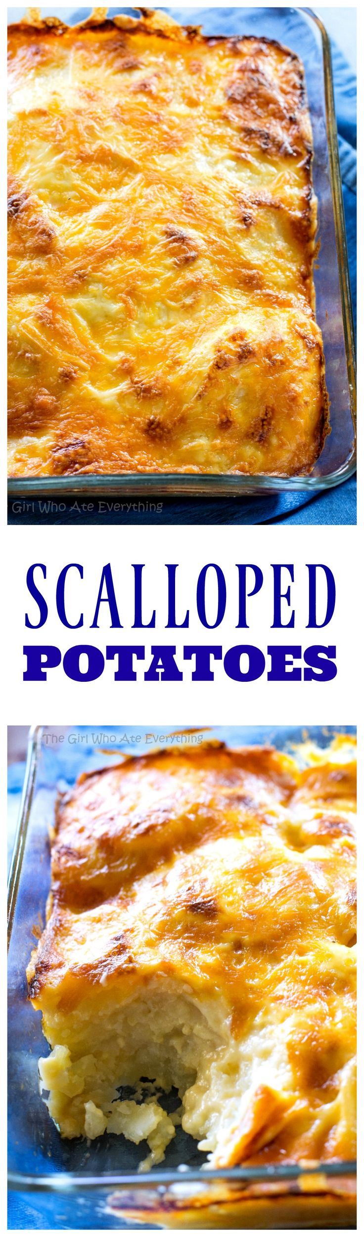 Scalloped Potatoes - a classic dish with potatoes, cheesy sauce, and baked until perfection! the-girl-who-ate-everything.com