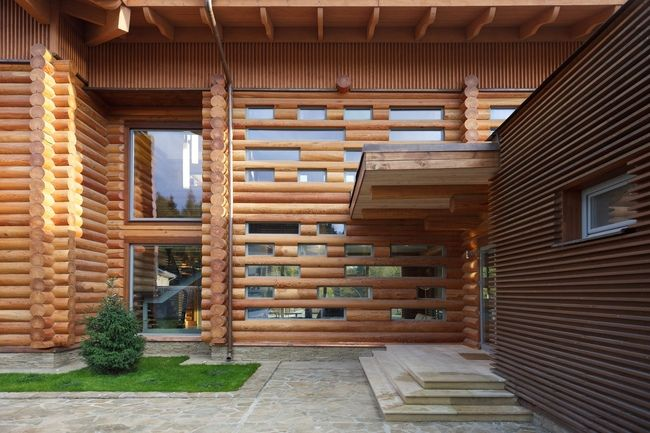 #Log + #Glass #exterior #wood