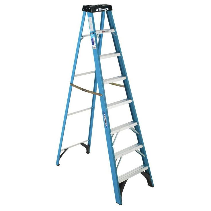 $121.00 Werner 8 ft. Fiberglass Step Ladder with 250 lb. Load Capacity Type I Duty Rating