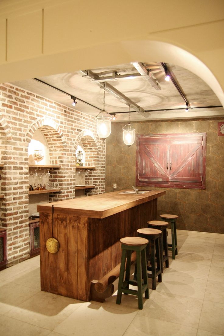 Home Bar and brick walls perfect party atmosphere