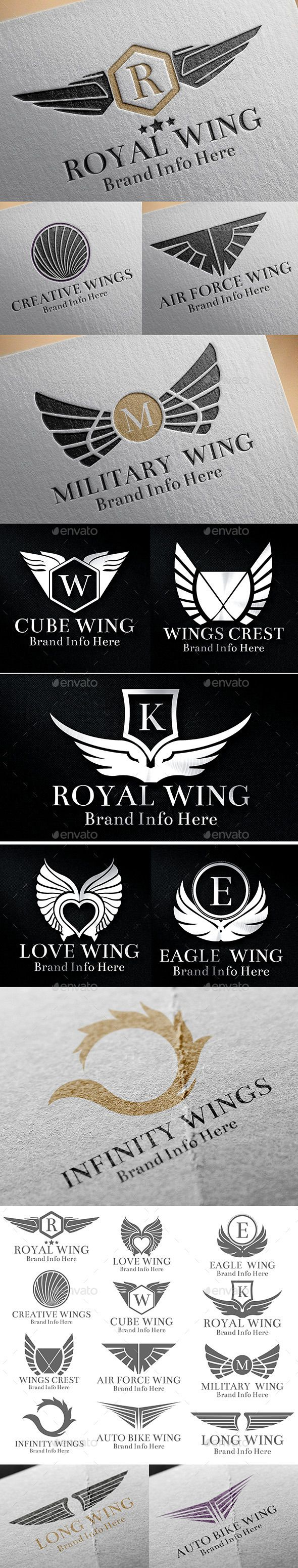 Heraldic Wings Logos - EPS Template • Only available here ➝ http://graphicriver.net/item/heraldic-wings-logos/12661869?ref=pxcr