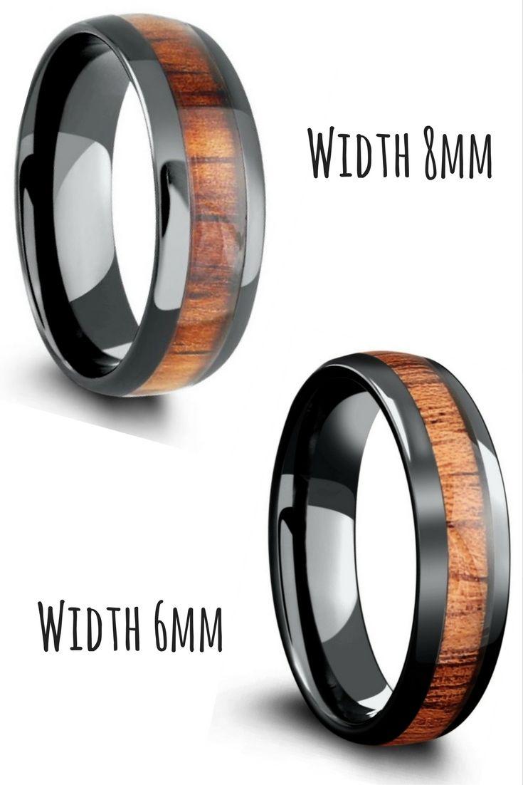 Black High Tech Ceramic Ring Inlaid With Genuine Koa Wood These