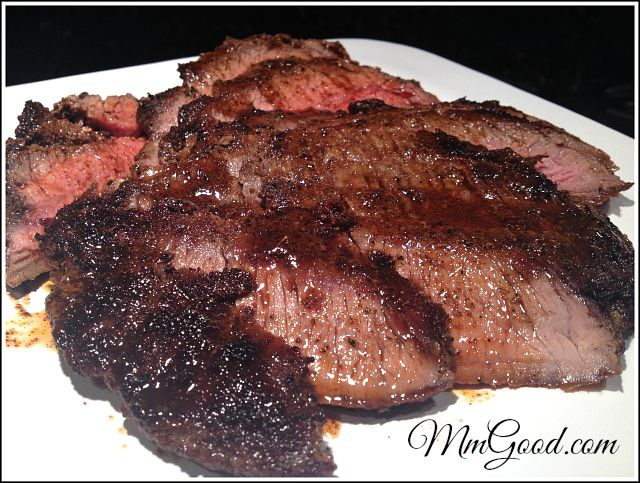 Repin if you are looking for a super easy and delicious Blackened Flank Steak on the table in less then 30 minutes, great for dinner or company.  Can be made outside on the BBQ or on the stovetop  | MmGood.com