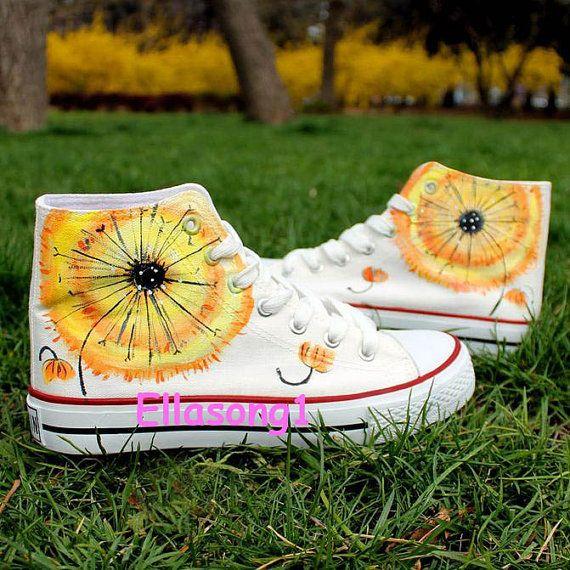 Natürliche Löwenzahn Converse benutzerdefinierte Schuhe, Hand, gemalte Schuhe, benutzerdefinierte Converse, gemalte Schuhe, Geburtstagsgeschenke, Fashion Sneaker, Freizeitschuhe 104