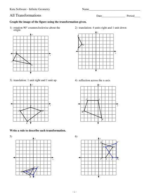 Geometry Transformations Worksheet Answers 12 All
