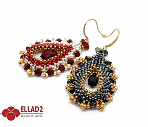 Beading Tutorial for Ovallete Earrings is very detailed, easy to follow, step by step, with clear beading instructions and color photos of each step.