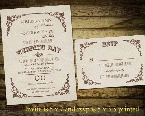 Rustic Wedding Invitation Set Industrial Chic Vintage