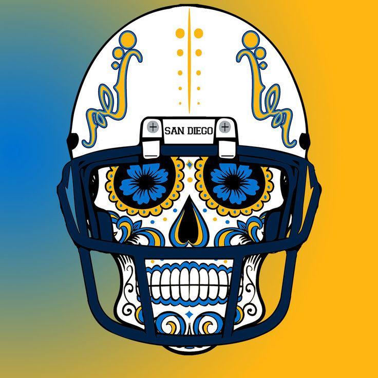 San Diego Chargers Custom Nfl Sugar Skull Calavera