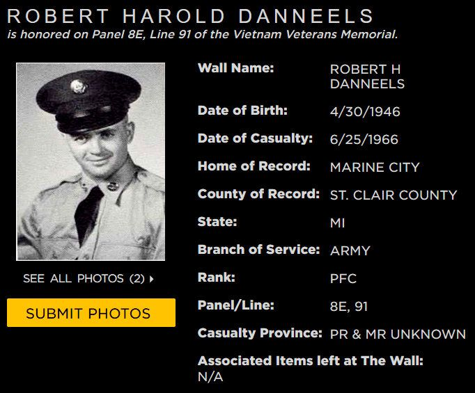 Robert H Danneels Marine City Mich Marine City Vietnam Veterans Memorial Vietnam Veterans