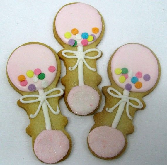 Baby Rattle Sugar Cookies: Butter Cups Cookies, Sugar Cookies, Cookies Decor, Decor Cookies, Cookies Baby, Baby Rattle, Baby Cookies, Fancy Cookies, Baby Shower