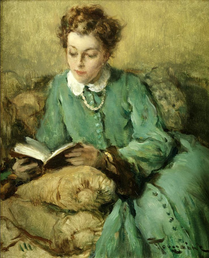 Femme lisant. Fernand Toussaint (Belgian, 1873-1955). Oil on panel. It is Alfred Stevens' great influence that can be seen throughout the evolution of Toussaint's oeuvre. Toussaint was primarily known...: