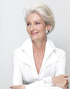 Beautiful grey hair of Catherine Loewe.  I'm ready for mine to get whiter.  :-)  This is gorgeous.
