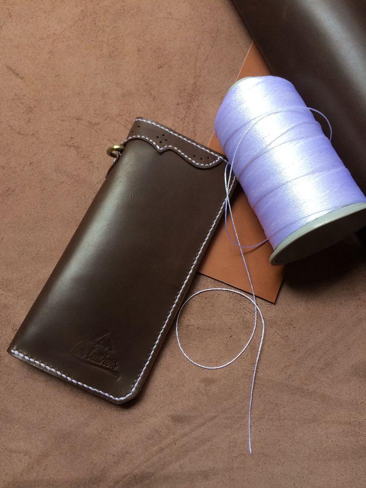 Long wallet darkbrown by lamleathers handstitch