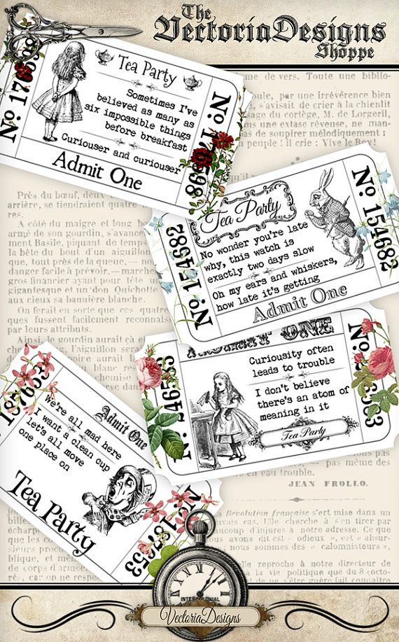 Flower Alice in Wonderland Tickets printable save ink vintage digital graphics instant download Digital Collage Sheet - VDTIAL1165