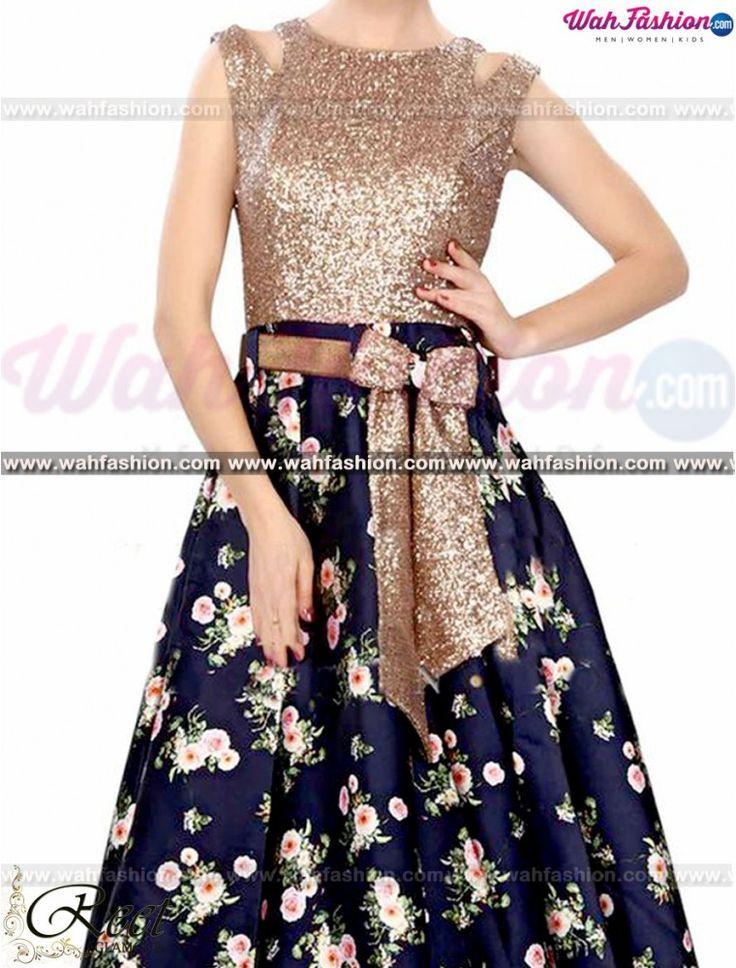 Ravishing Navy Blue Floral Gown