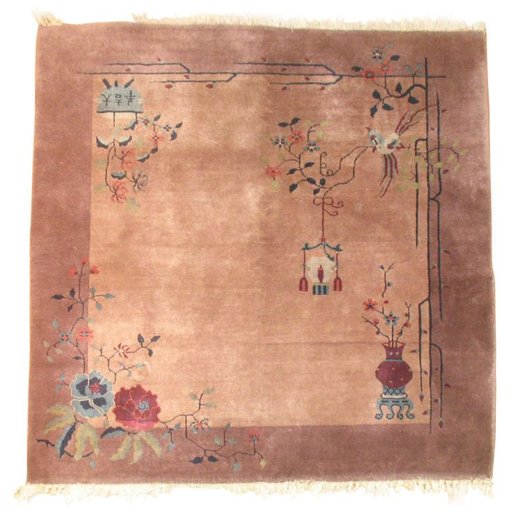 Mauve Chinese Art Deco Rug