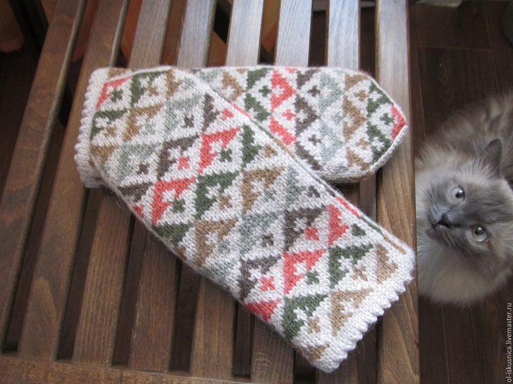 Купить Варежки вязаные женские с орнаментом Кантри - орнамент, варежки ручной работы, варежки женские