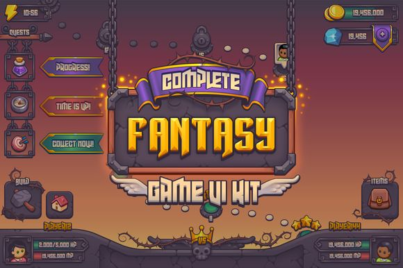 Complete Fantasy Game UI kit by Vectricity Designs on @creativemarket