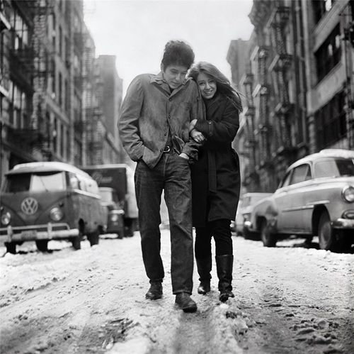 Bob Dylan and Suze Rotolo walking along Jones Street, New York City in February, 1963.A few months later this photo would be used as the album cover for The Freewheelin' Bob Dylan (as you surely know). Photograph by Don Hunstein.
