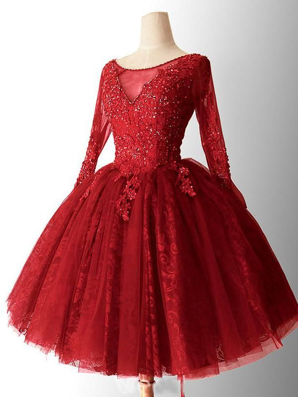 cb62c328bc 2018 Chic A-line Red Homecoming Dresses Lace Short Prom Dress Long Sleeve  Homecoming Dress AMY2164