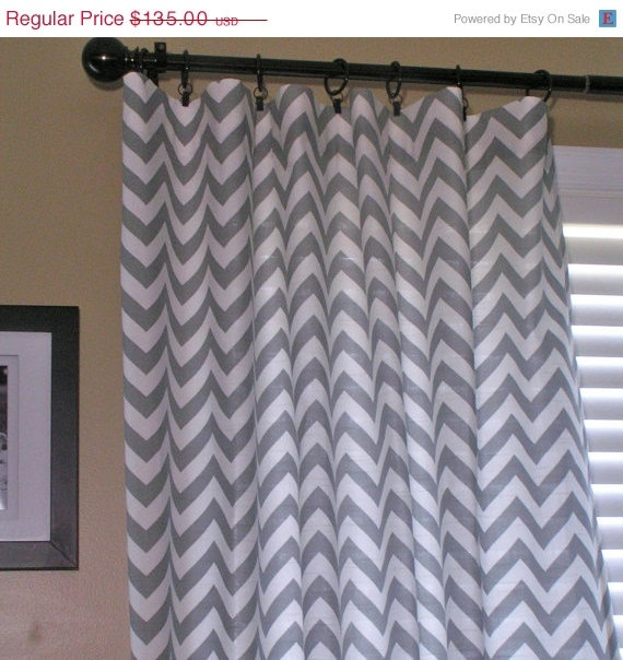 gray and white zig zag curtains