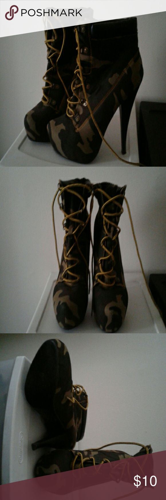 Camo High Heel Boots These are fairly new boots that have only been worn twice!! Shoes Heeled Boots