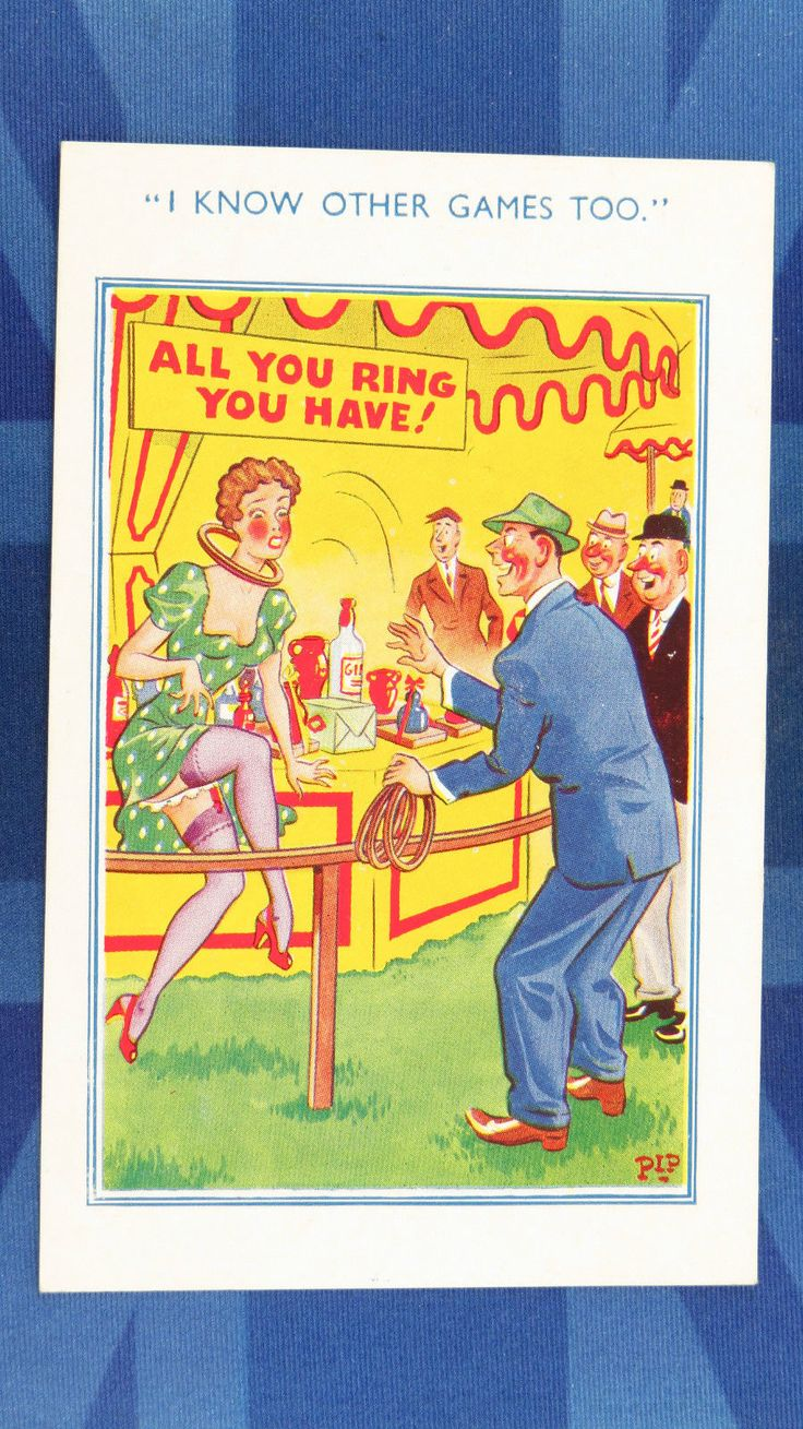 Comic Postcard 1950s FUNFAIR RINGS Fairground Nylons Stockings Suspenders Legs | eBay