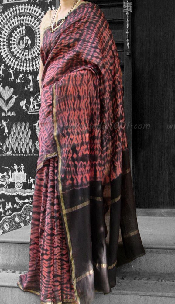 Handcrafted Shibori Chanderi Saree | India1001.com