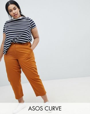 ASOS CURVE Mom Chinos in Ochre