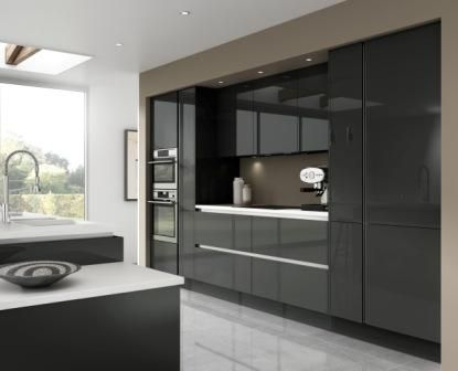 Luna - gloss dark grey really shows off a stylish modern kitchen  http://www.moores.co.uk/Definitive-Kitchens/Range-Selection/Luna/124/Gloss%20Dark%20Grey/2/8