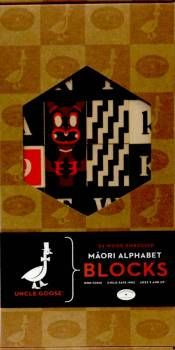 This imaginative block set of marauding gods, numbers, math symbols and the Maori alphabet will help to carry Te Reo Maori through the generations.  Johnson Witehira brings together two cultures (Maori & Pakeha) by producing these alphabet blocks that are specially designed to educate children. The printed wooden blocks feature the Te Reo alphabet. Age 2 yrs+