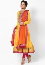 Yellow Embellished Churidar Kameez Dupatta