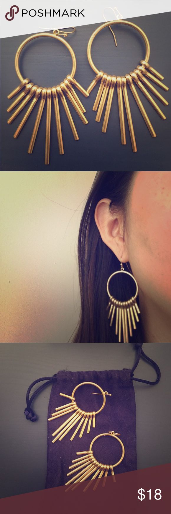 BaubleBar | Gold-plated Hoop Drop Fringe Earrings Bought these gorgeous gold-plated earrings at Nordstrom | BaubleBar and wore them only once to a party! Earrings are in mint condition. Intersecting chains and a delicate fringe are a luxe take on a delicate silhouette. Style with side-parted hair and solid hues for an ultra-chic look. Jewelry Earrings
