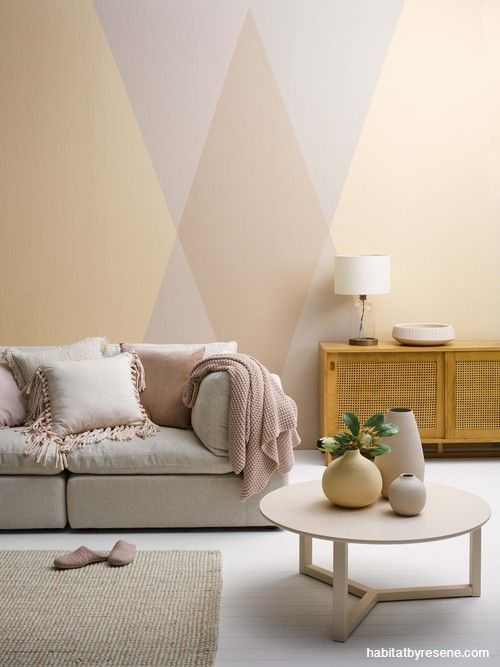 Lounge Living Room Feature Wall Geometric Painted Pattern Geometric Wall Pink Orange Wall Paint Patterns Pink Living Room Wall Paint Patterns Living Room Wall paint for living room