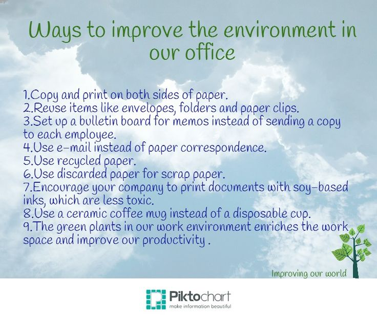 ways of improving the environment Our colleagues and especially our boss, have a huge impact on our work  experience, and one of the best ways to improve their attitude is to.