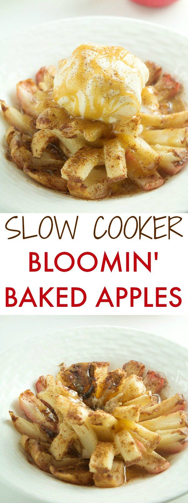 Mouthwatering Bloomin' Baked Apples - Melt in your mouth baked apples in crockpot is the perfect dessert for any occasion. Seriously one of the best baked apples recipe you will ever make.