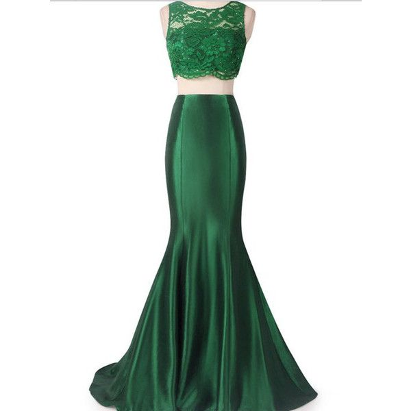 Floor Length Emerald Green Lace Mermaid Dress 2 Piece Embellished Crop... ($120) ❤ liked on Polyvore featuring dresses, gowns, long dress, skirts, vestidos, black, women's clothing, emerald green bridesmaid dresses, bridesmaid dresses and lace prom dresses