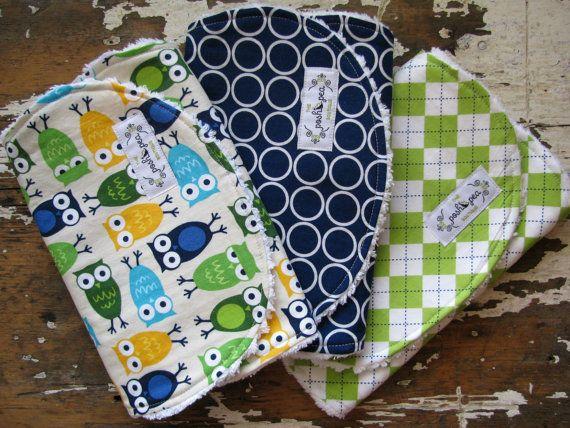 Baby Boy Burp Cloths -Blue Owls, Navy Circles & Green Argyle - Blue and Green - Set of 3
