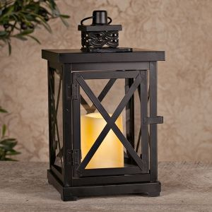 Lights.com | Flameless Candles | Flameless Lanterns | Metal Solar Lantern w/Cross Bars & 1 Wavy Edge Resin Bisque Candles by Gerson