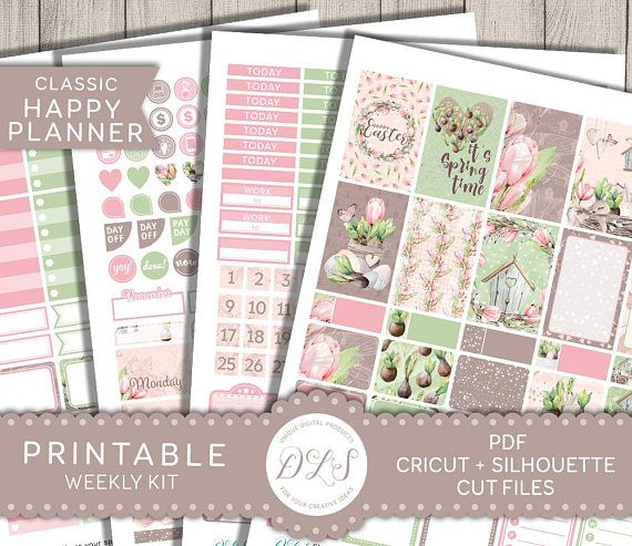 Printable Easter Planner Kit Happy Planner Easter Stickers