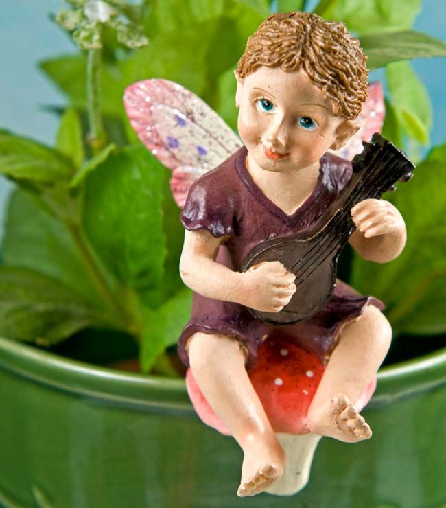 Fairy Pot Hanger - Tim -   Fairies adore music! Let our handsome miniature Tim Fairy Pot Hanger serenade you with enchanted fairy melodies. Don't be surprised if you catch sight of fairies dancing as they won't be able to resist this charming fellow's tune.     If you ever wonder why your plants suddenly get trampled it's due to the many pairs of tiny fairy feet dancing throughout the evening. Don't be surprised if you discover evidence of raucous fairy parties after you add this little...