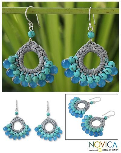 Hand Crocheted Calcite Earrings - Mekong Blue | NOVICA