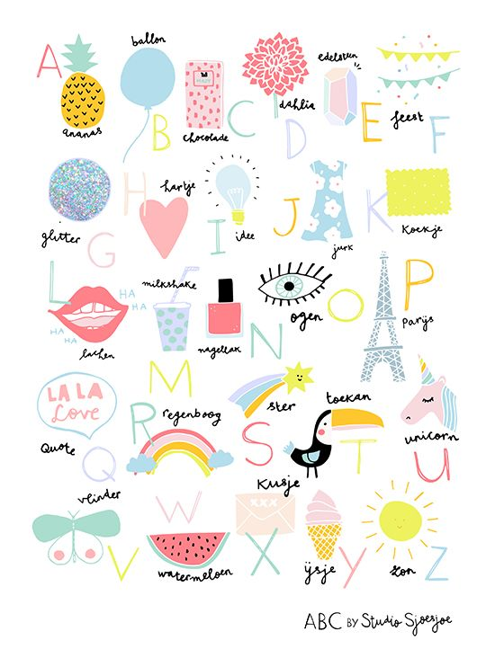 Fun ABC by Studio Sjoesjoe - you can't start to early with leaning our kids about the fun things in life like glitter and rainbows right? #abc #illustration #poster #essentials