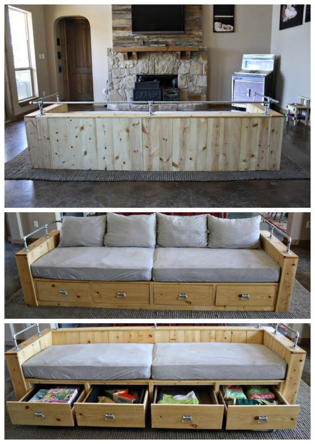 Modern Wood Storage Sofa Diy Storage Couch Diy Furniture Couch