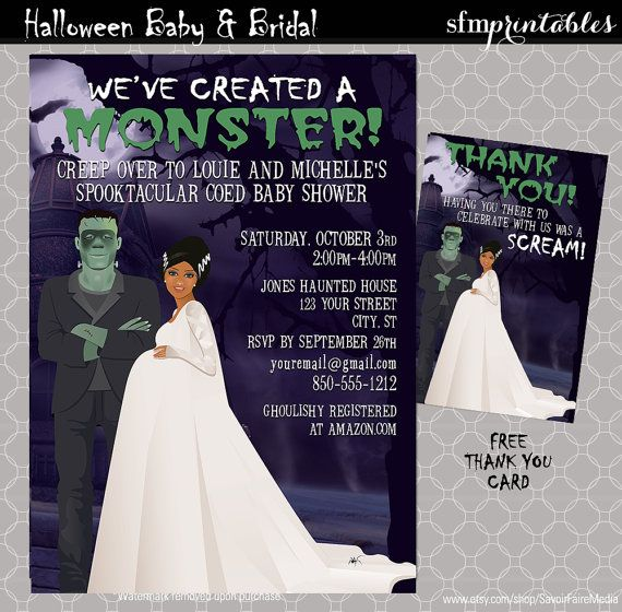 Halloween Baby Shower Invitations / Couples Shower We've Created Monster / Spooktacular Frankenstein Baby Mommy Fall Themed African American by sfmprintables