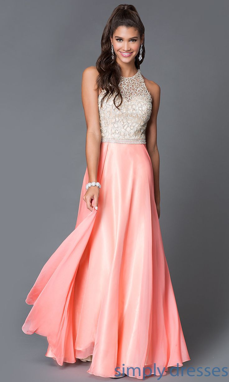 Shop Dave and Johnny beaded bodice long coral dresses at SimplyDresses. Long sleeveless prom dresses with high necks and open backs for prom.