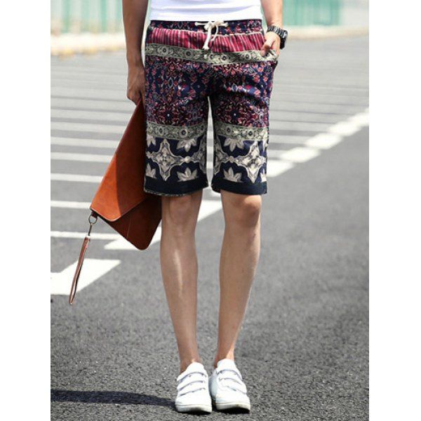 Slimming Stylish Lace-Up Stripe and Retro Print Narrow Feet Linen Blend Shorts For Men